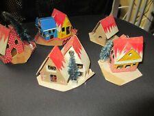 5 Vintage ~ Cardboard Christmas Tree Village Putz Houses~Light~Japan~40s-50 s
