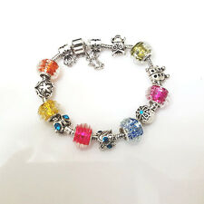 NEW Silver Colorful Assorted Murano Beads Charm Bracelet Brighton Bay