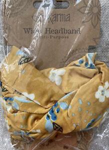 Floral Wide Headband By Karma Gifts Boho Bandeau. gold/yellow