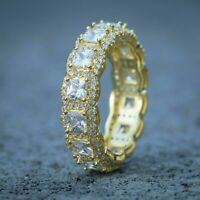2 Ct Princess Brilliant Diamond Pinky Band Ring Solid Men's 14K Yellow Gold Over
