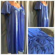 Vanity Fair Nightgown Lavender Blue Silky Nylon Babydoll Wide Flutter Gown L