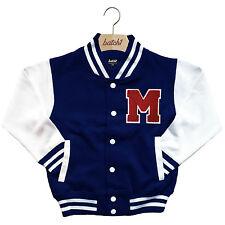infantil Chaqueta Beisbol Varsity personalizado con verdadero Uni Letra M