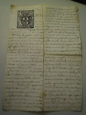 "DOCUMENTO DEL 1700 SU CARTA BOLLATA DA "" DUE SOLDI 1741 "" ALBENGA  6-217"