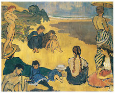 Studland Beach Bathers Vanessa Bell print in 11 x 14 mount ready to frame SUPERB