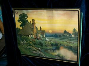 VINTAGE LITHGRAPHIC PRINT FRANK CORBYN PRICE- CLOSE OF THE DAY- 1930- DISPLAYED