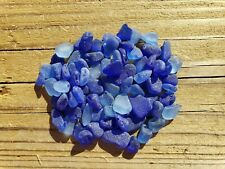Sea Glass.  78 mini pieces. Craft grade. Blues. Genuine. Surf-tumbled & frosted.