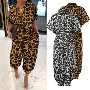 Womens V Neck Short Sleeve Jumpsuit Ladies Party Office Leopard Romper Playsuits
