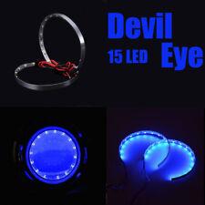 Pair Blue LED Lights Devil Eyes Demon Eye Auto Headlight Projector Lens Rings