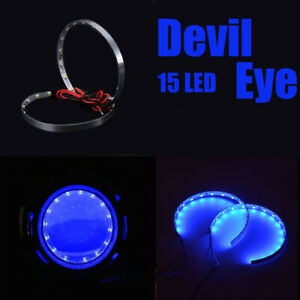 Pair Blue LED Lights Devil Eyes Demon Eye Auto Headlight Projector Lens Rings