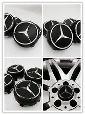 Mercedes amg black wheel centre caps 75MM s'adapte a b c e slk class C63 A45 slk