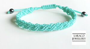 LARACO JEWELLERY - Eternal Waves Friendship Cord Macrame Knot Aqua Bracelet