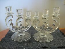 Pair Vintage Crystal Candle Holders Graduated  3 Candles Base has great Etchings