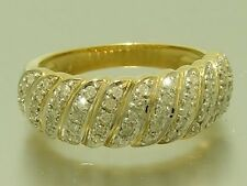 R216- GENUINE 9ct Solid Gold NATURAL Diamond 0.50ct  Domed Band Ring size P