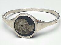 Vintage Silber Design Armreif 925 punziert Amonit versteinerte Schnecke /A234