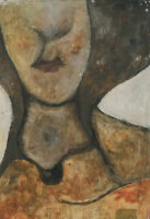 Ben Carrivick - Signed Contemporary Oil, Woman in a Rust Coat