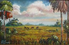 Original Oil Painting,Wild Hog Hunting Genuine MAZZ,Wide Frame & Highwaymen card