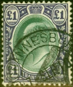 Transvaal 1908 £1 Green & Violet SG272 Fine Used