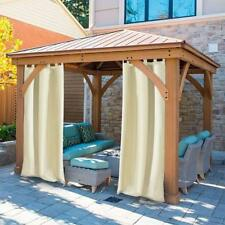 OUTDOOR PATIO CURTAIN PANEL Yard Porch Insulated Blackout Sun Shade Drape Beige