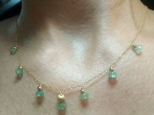 2cts Faceted Emerald 14k solid gold chain beads pendant 16 inch Necklace