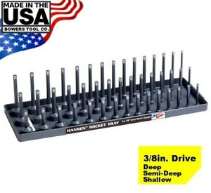 "Hansen 3/8"" Socket Tray Organizer Holder Metric 3 Row MM Shallow, Semi, Deep USA"