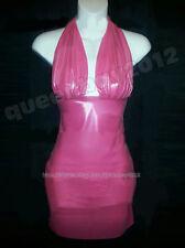 100% Latex Rubber Gummi 0.45mm Kleid Dress Abend Ganzanzug Anzug Rosa Partei Neu