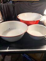 3 Vintage Enamel Wash Basins Tubs White Red Farmhouse Country Primitive Decor