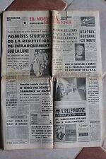 LA NOUVELLE REPUBLIQUE 4 MARS 1969 - DEBARQUEMENT LUNE APOLLO DUSSANE
