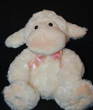 """Big Thick Cream Soft Lamb Pink Stiched Nose Mouth 10"""" Plush Stuffed Lovey Bow"""