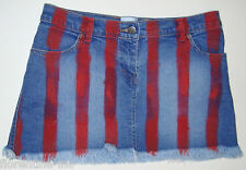 BEAUTIFUL SASS&BIDE DENIM RED STRIPED HIPSTER MINI SKIRT AUS/UK 10 US 6