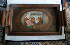 Art Deco Period Poker Work Hand Painted Tray - Dutch/German