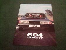 1980 PEUGEOT 604 SL / Ti V6 / TURBO DIESEL - UK 20 PAGE COLOUR BROCHURE