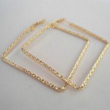 Moda 18K Oro Plateado Níquel Libre Cuadrado Aro Pendientes.