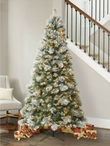 7ft 6 Inches Pre-Lit Flocked & Glitter Artificial Christmas Tree With LED Lights