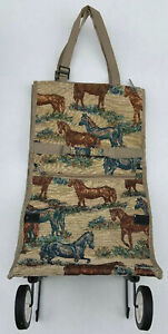 Tapestry Horses Roll Along Carry On Suitcase Handbag Luggage
