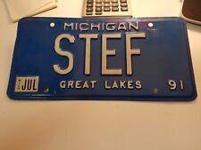 Michigan Vanity License Plate 1991 STEF