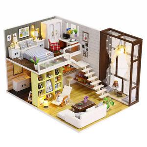 DIY Wooden Dollhouse Apartments Miniature Furniture Kit Doll House LED Light