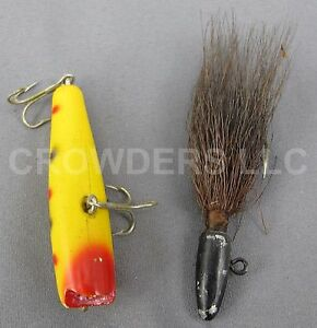 """2 Vintage Fishing Bait Lures 2.5"""" Creek Chub Spotted Yellow Darter & Black Fly"""