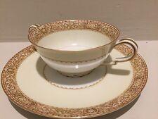 Noritake China Made in Japan Adelpha 4036 Brown Floral Design Soup Bowl & Saucer