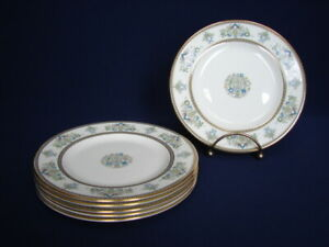 "Set of 6 Minton HENLEY 6-1/2"" Bread Plates Green & Blue Flowers Gold Trim"