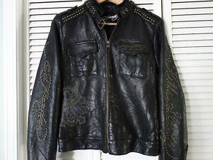 "Women ED HARDY Leather Jacket ""LOVE KILLS SLOWLY"" Superb Condition, Size M"