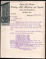 1908 Edwin A Newton - Knitting Mill Machinery Supplies Philadelphia Letter Head