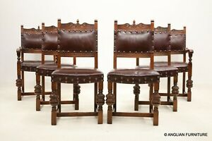 6 Old Charm Premium Dining Chairs Tudor Brown Studded Leather FREE Delivery