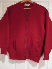 Vintage Femmes Cardigan Par Waverley Knitters, Shetland, Écosse, rouge, SZ 14 très bon état