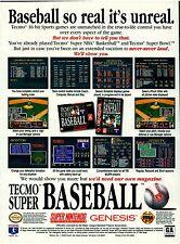 Original 1994 TECMO Super Baseball SNES Sega Genesis video game print ad
