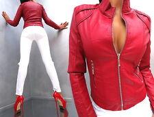 NEU 2017 ROT LEDER OPTIK RED LEATHER LOOK Damen Jacke Mantel Q64 Blazer Coat XL