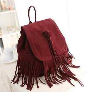 C8002 NEW Large Faux Suede Fringe Tassels Backpack SALE Black Burgundy Brown FS