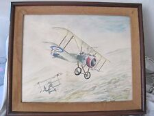 Original Watercolor Painting bi plane dog fight R Beste 1965 mid century vintage