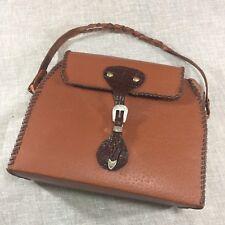 VINTAGE Handmade Western Box Purse Pig Skin Leather Handbag Rockabilly Bag
