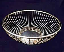 """ANTIQUE SILVER PLATE 8"""" ROUND BREAD BASKET 1960's Era MADE IN ITALY"""