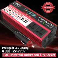 Power Inverter 800W/4000W Max DC 12V TO AC 240V LED Display Car Cigarette Plug